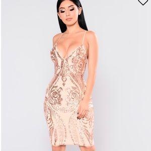 Fashion Nova size Small Rose Gold Dress Sequin